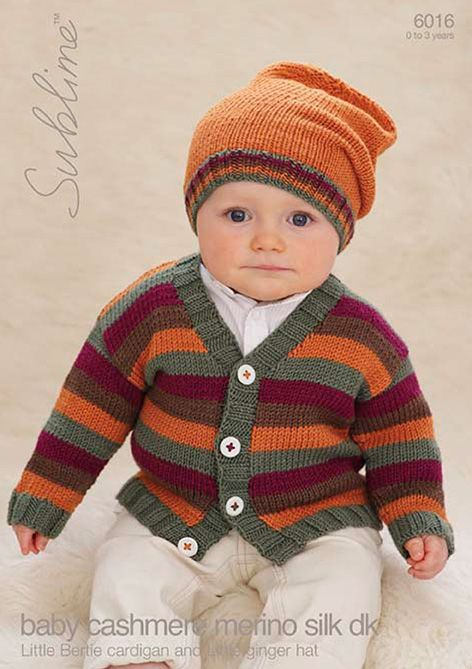 Knitting Patterns For Teddy Bear Clothes : 6016 - Sublime Little Bertie Cardigan & Little Bertie Hat Knitting Pattern