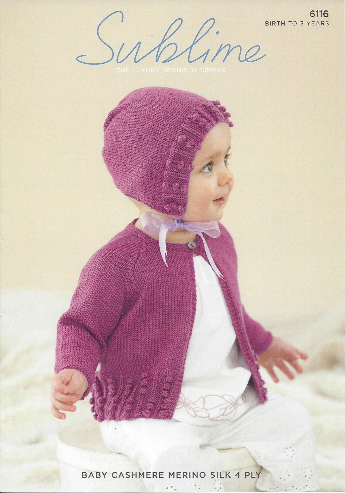 6116 - Baby Girl s Cardigan & Bonnet Knitting Pattern