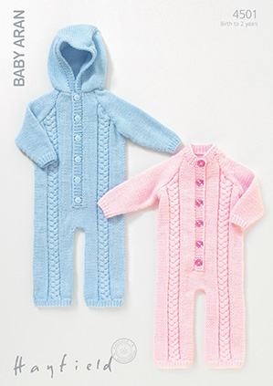 Knitted All In One Baby Suit Pattern : Hayfield Baby Aran - 4501 All-in-One Suits Knitting Pattern