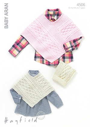 Knitting Pattern For T Bag Hat : Hayfield Baby Aran - 4506 Ponchos and Tea Bag Hats ...