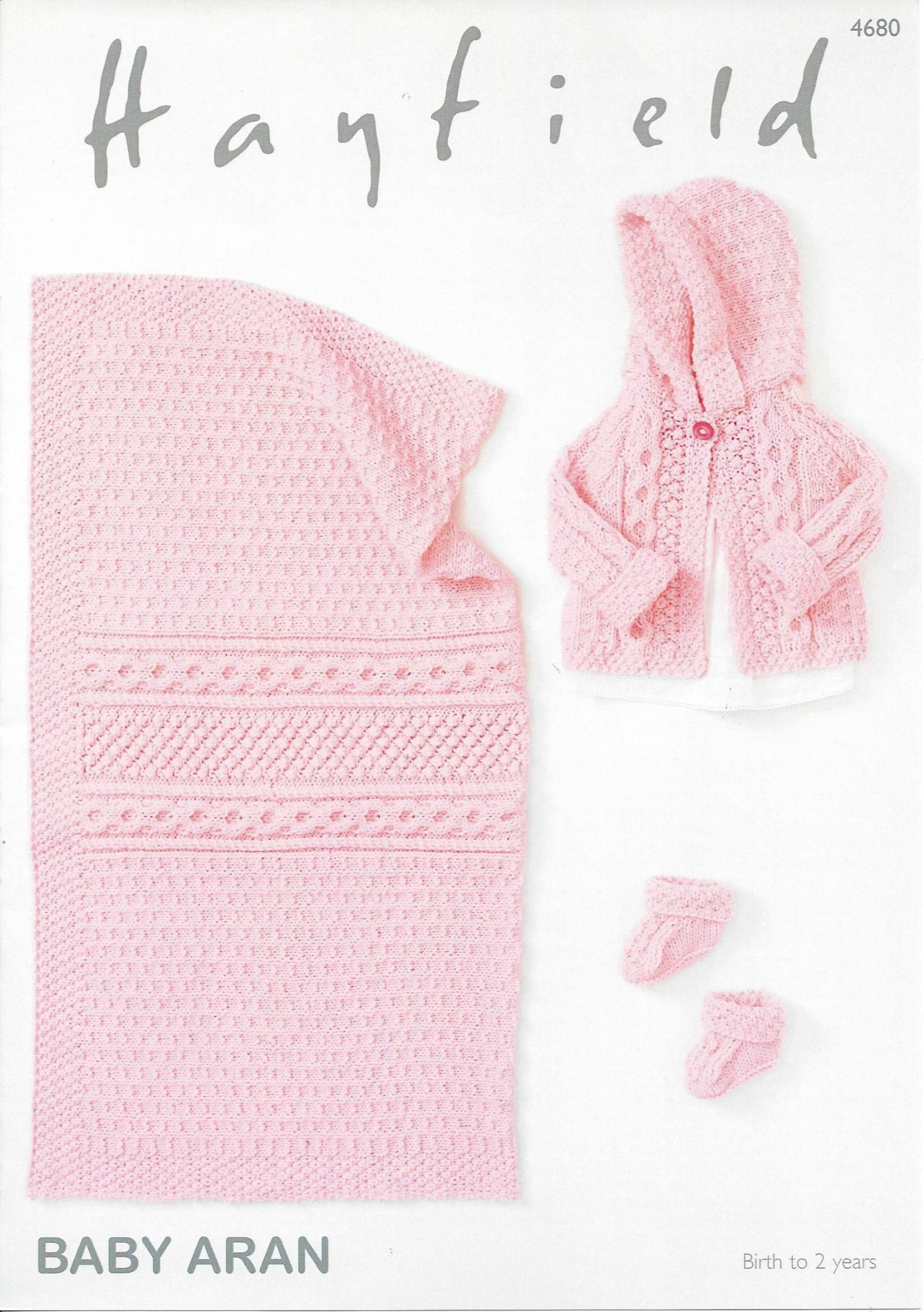 Hayfield Aran Knitting Pattern Books : Hayfield Baby Aran - 4680 Jacket Bootees & Blanket ...