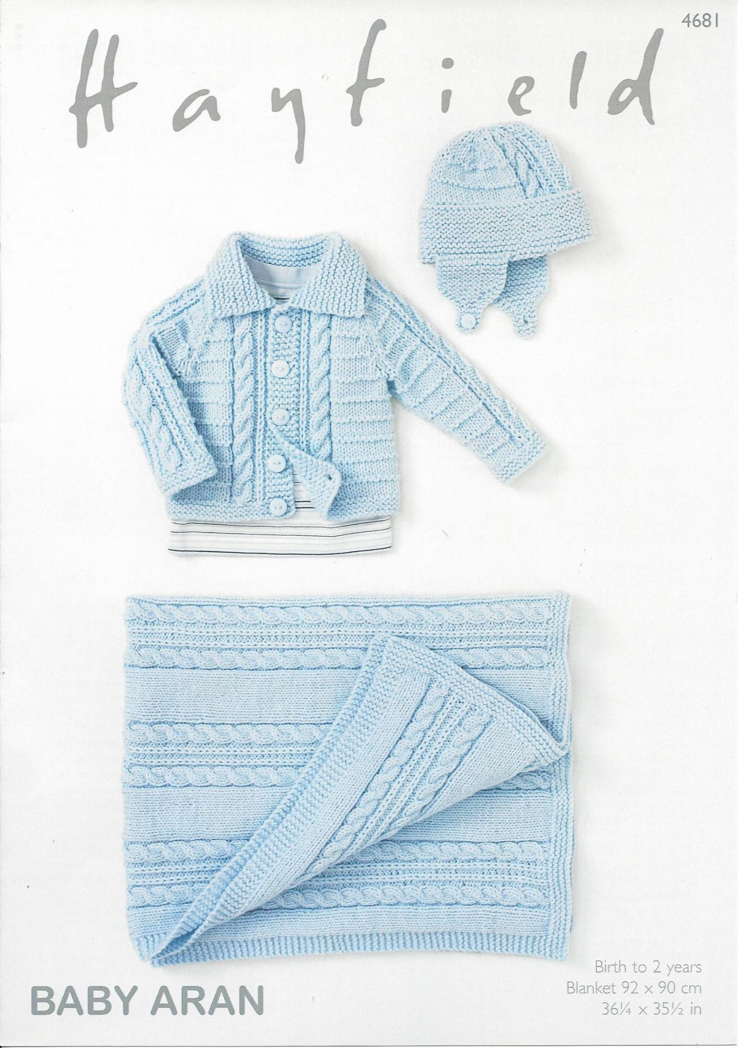 Hayfield Aran Knitting Pattern Books : Hayfield Baby Aran - 4681 Jacket Helmet & Blanket Knitting ...