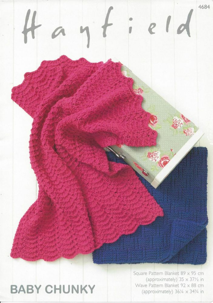 Baby Chunky Knitting Patterns : Hayfield Baby Chunky - 4684 Blankets Knitting Pattern