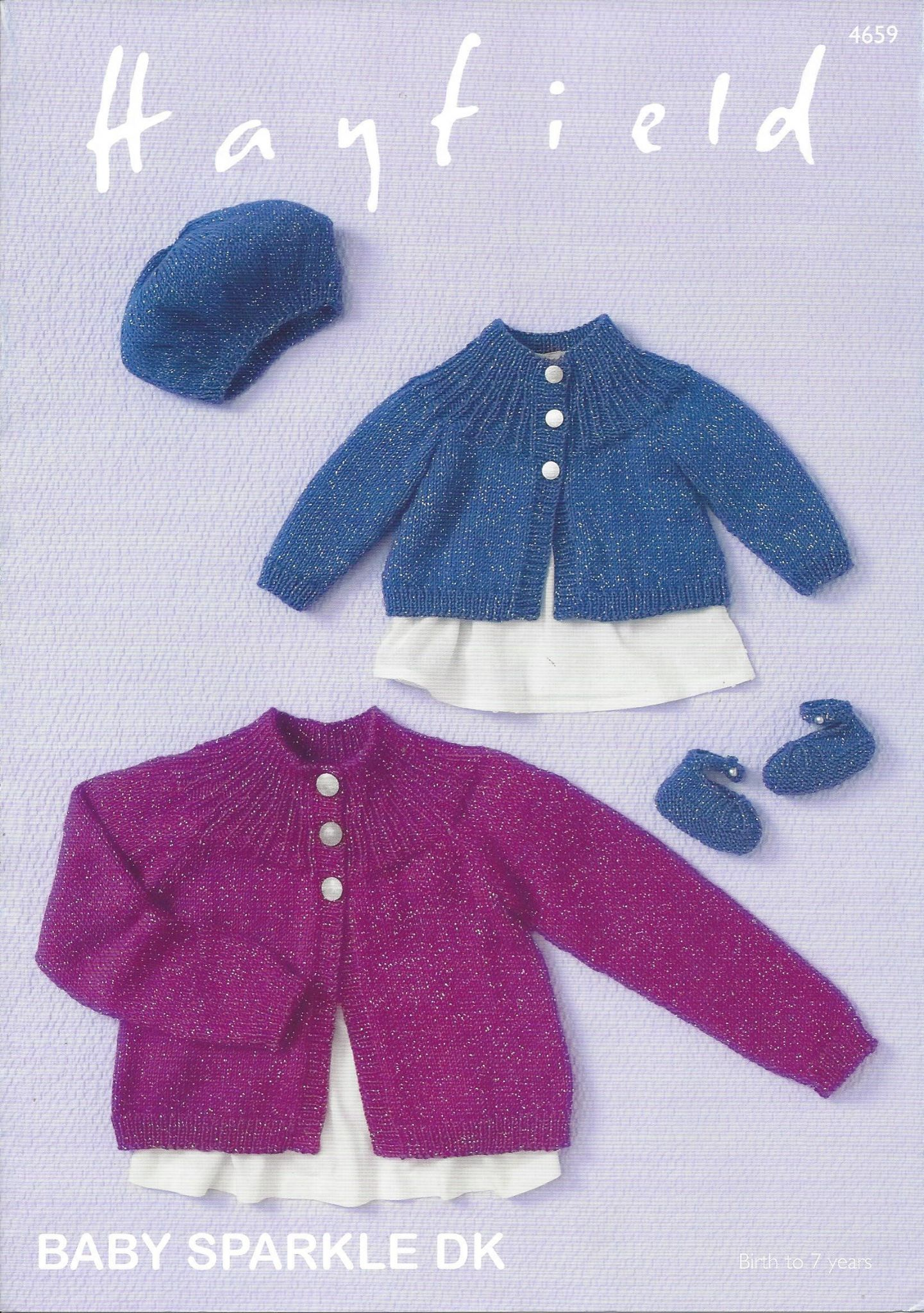 Hayfield Baby Sparkle DK - 4659 Cardigan Beret & Shoes Knitting Pattern
