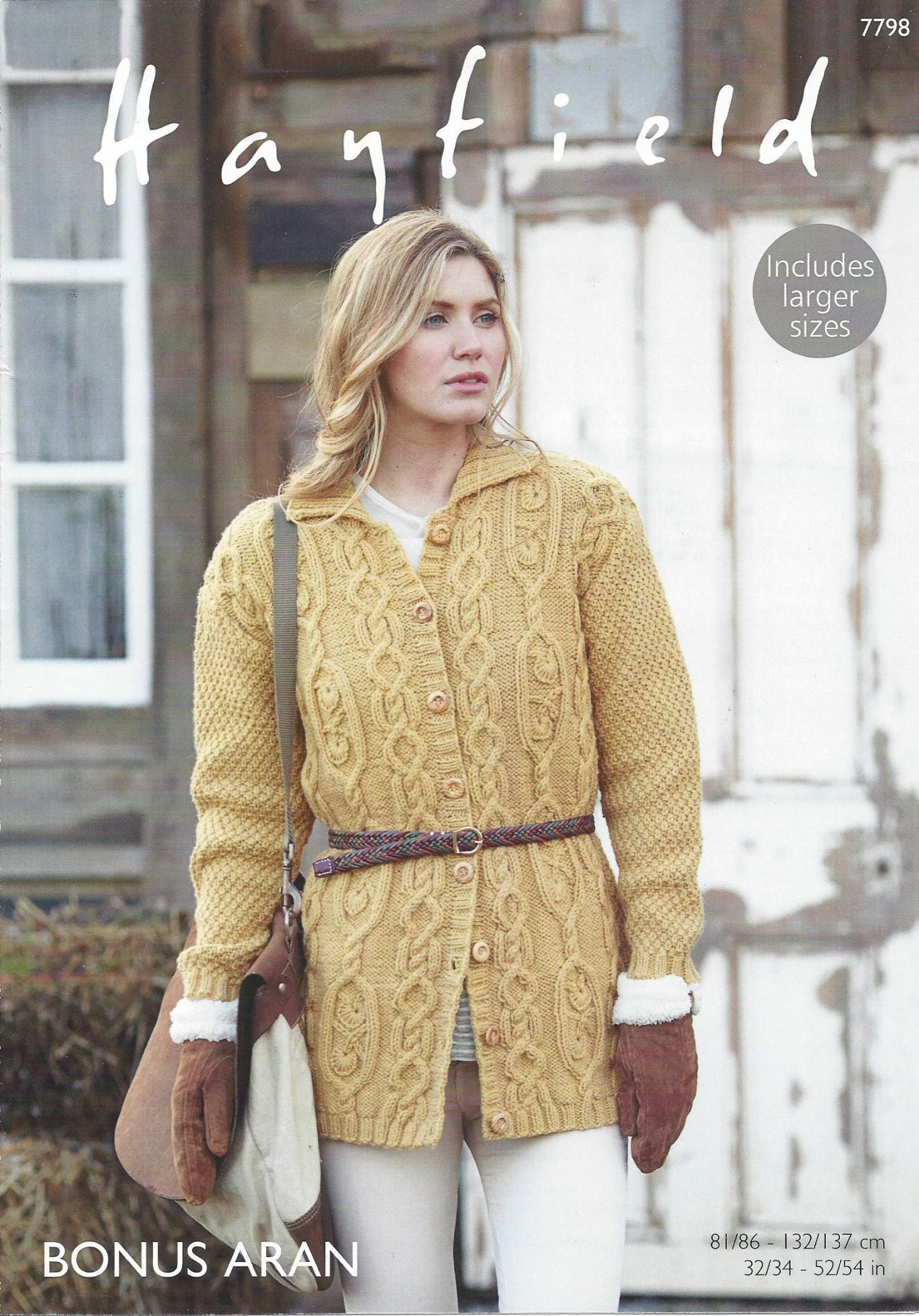 Hayfield Aran Knitting Pattern Books : Hayfield Bonus Aran - 7798 Coat Knitting Pattern