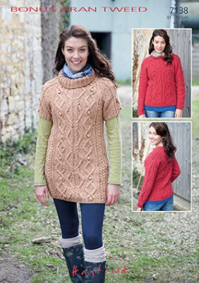 Hayfield Aran Knitting Pattern Books : Hayfield Bonus Aran Tweed - 7138 Sweaters and Tunics ...