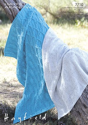 Hayfield Aran Knitting Pattern Books : Hayfield Bonus Aran Tweed - 7710 Throws Knitting Pattern