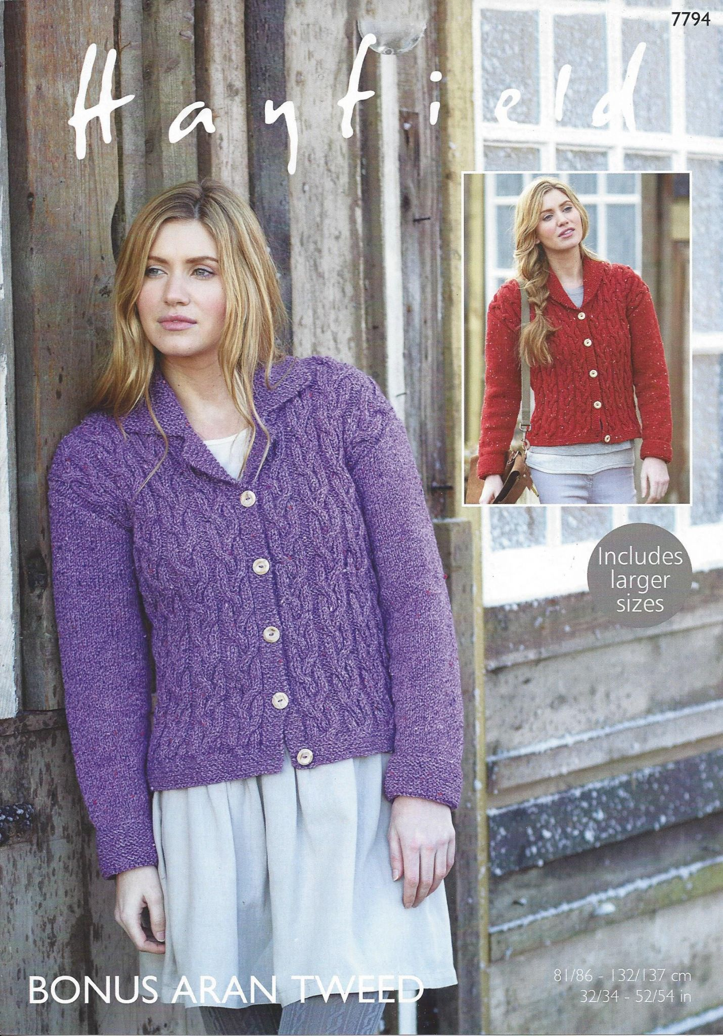 Hayfield Aran Knitting Pattern Books : Hayfield Bonus Aran Tweed - 7794 Jackets Knitting Pattern
