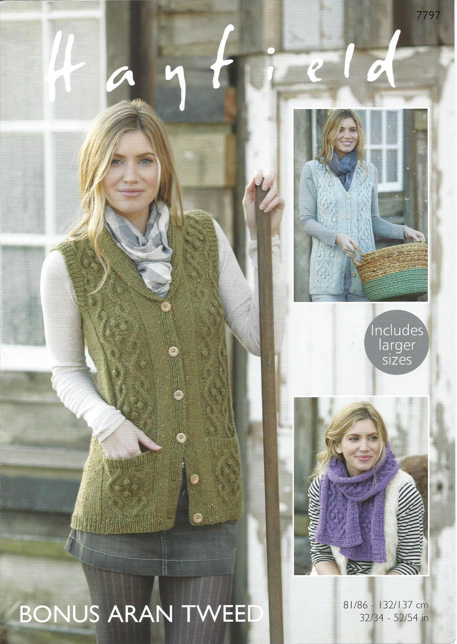 Hayfield Aran Knitting Pattern Books : Hayfield Bonus Aran Tweed - 7797 Waistcoats & Scarf ...