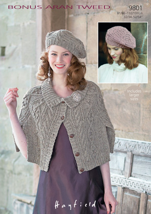 Hayfield Bonus Aran Tweed 9801 Cape And Beret Knitting Pattern