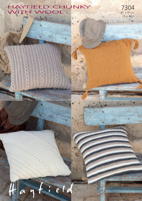 Hayfield Chunky with Wool - 7304 Cushion Covers Knitting ...