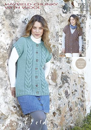 Easy Gilet Knitting Pattern : Hayfield Chunky with Wool - 7382 Gilets Knitting Pattern