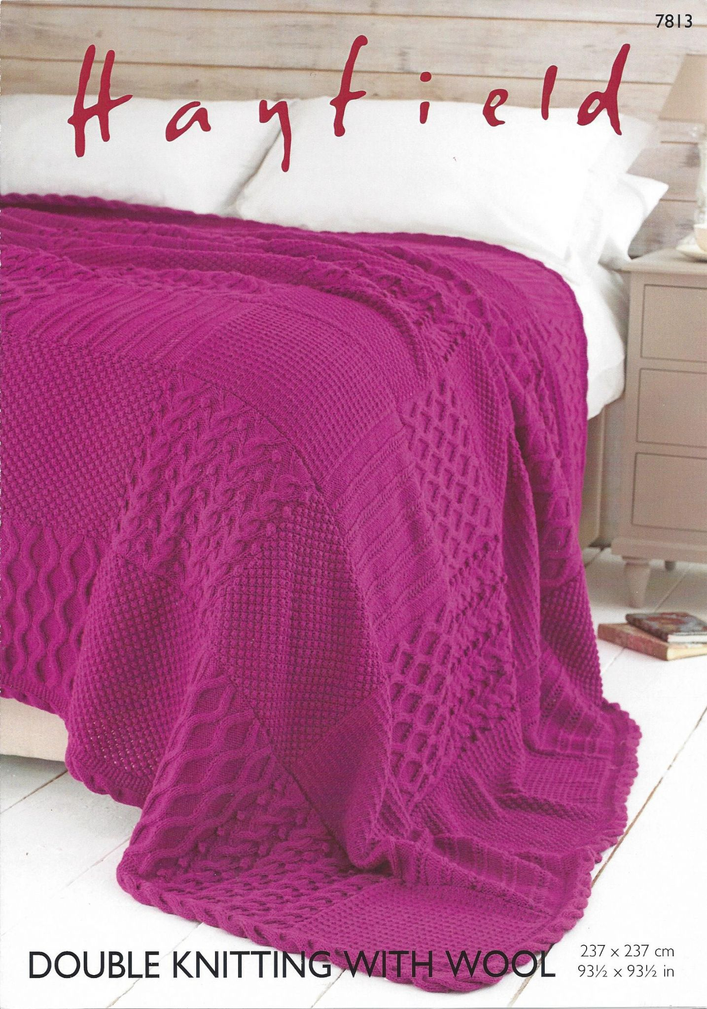 Hayfield DK with Wool - 7813 Bed Throw Knitting Pattern
