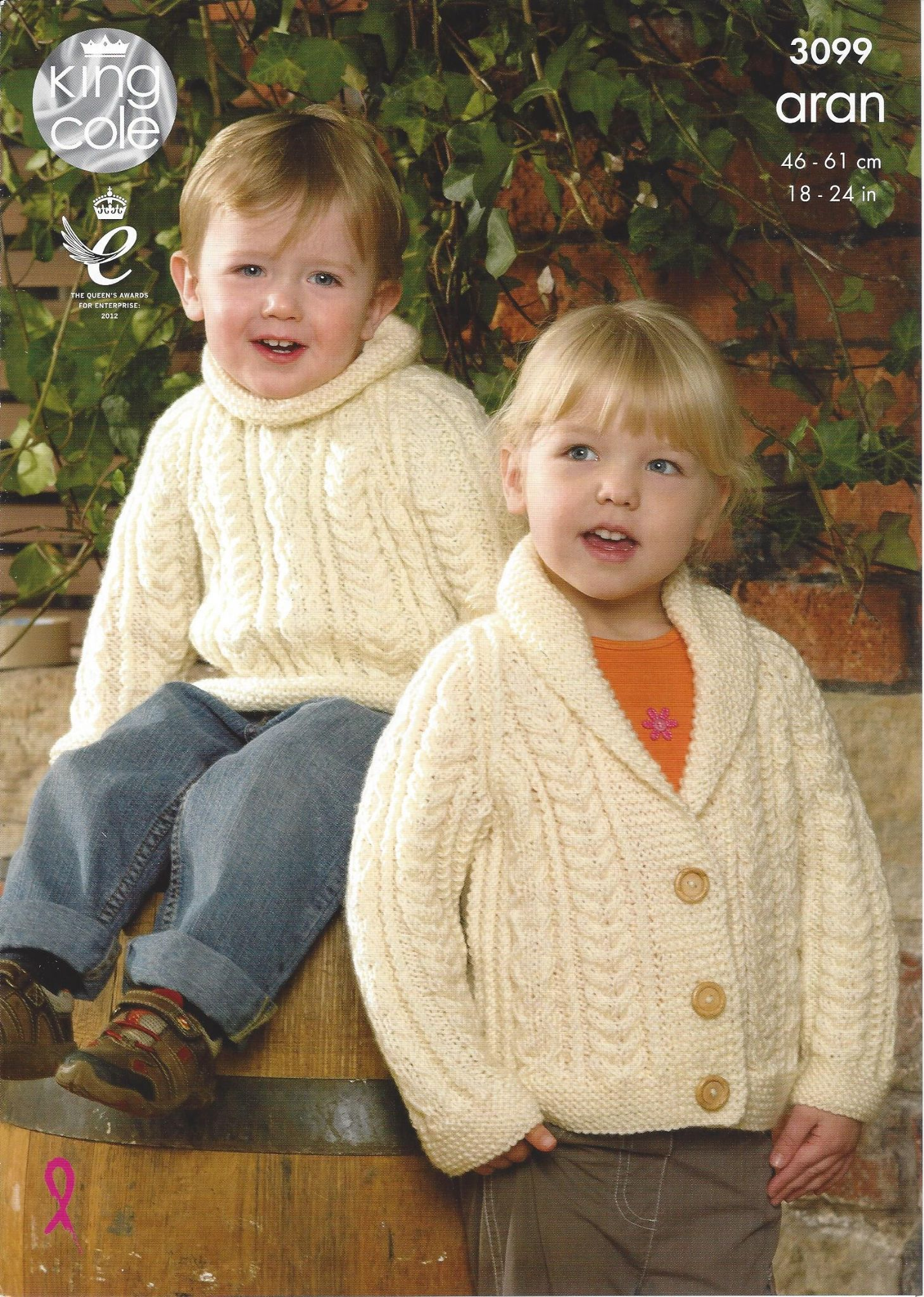 King Cole Aran Knitting Pattern - 3099 Sweater Jacket & Accessories