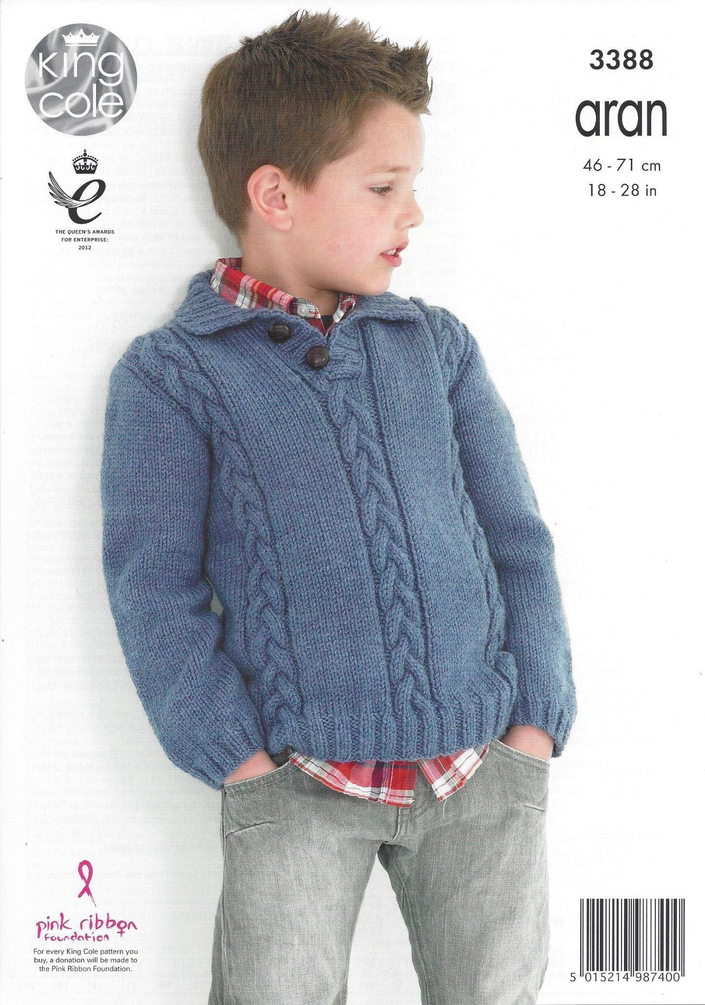 King Cole Aran Knitting Pattern - 3388 Cabled Sweaters