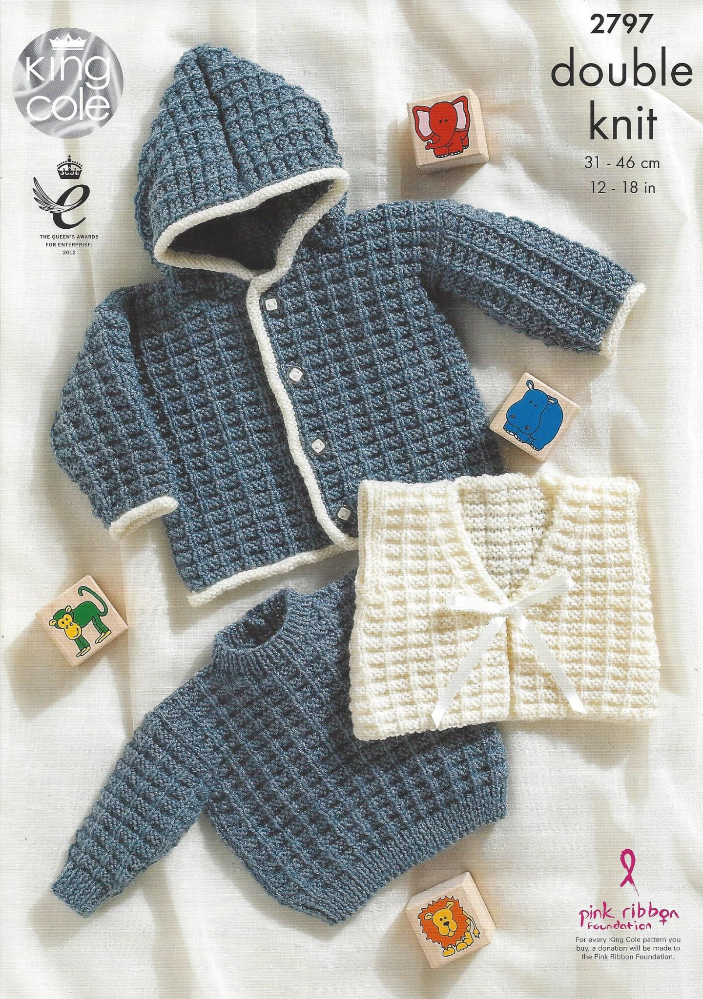 King Cole Baby DK Knitting Pattern - 2797 Sweater Jacket & Gilet