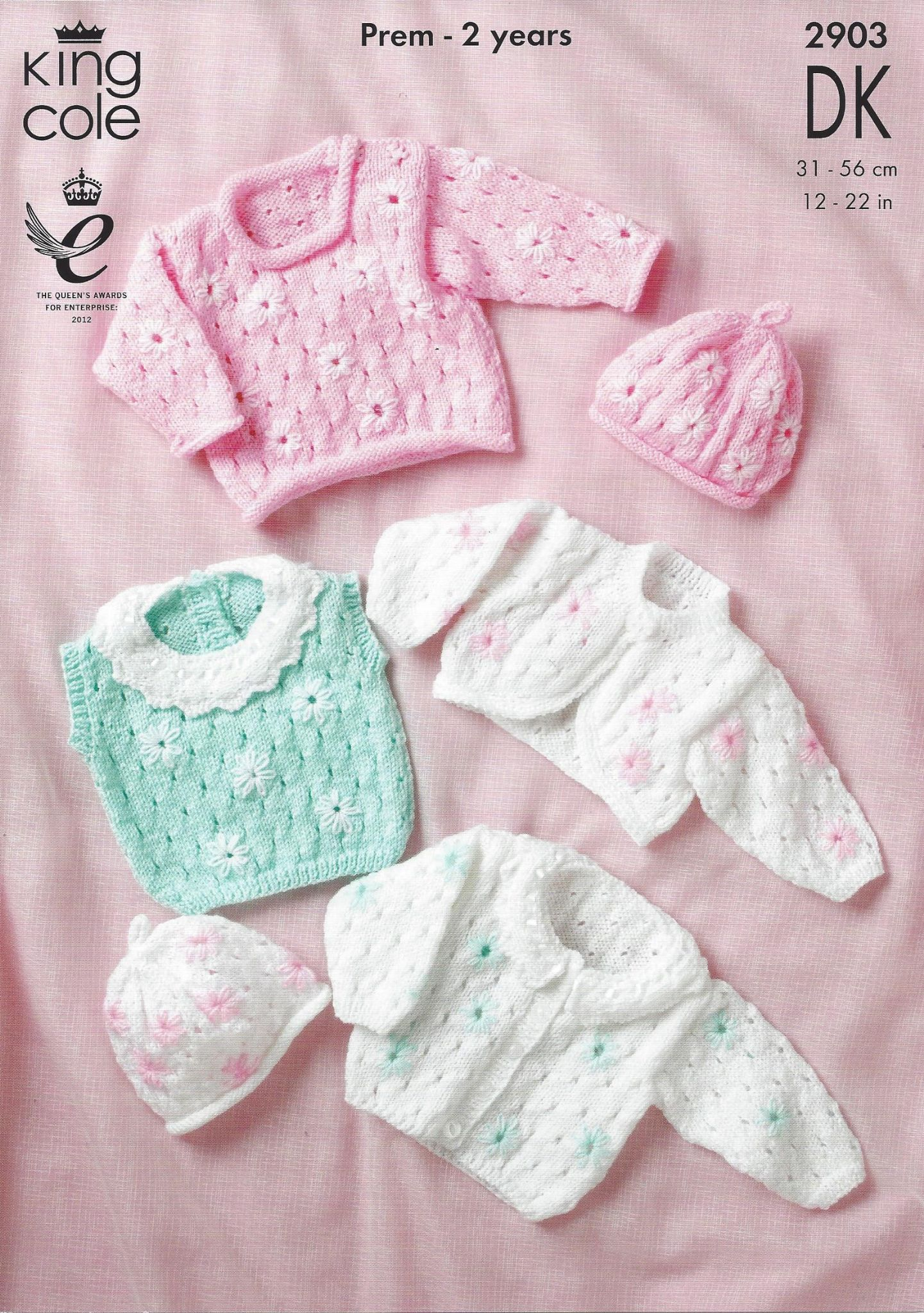 King Cole Baby DK Knitting Pattern - 2903 Cardigan Sweater Top Bolero & Hat