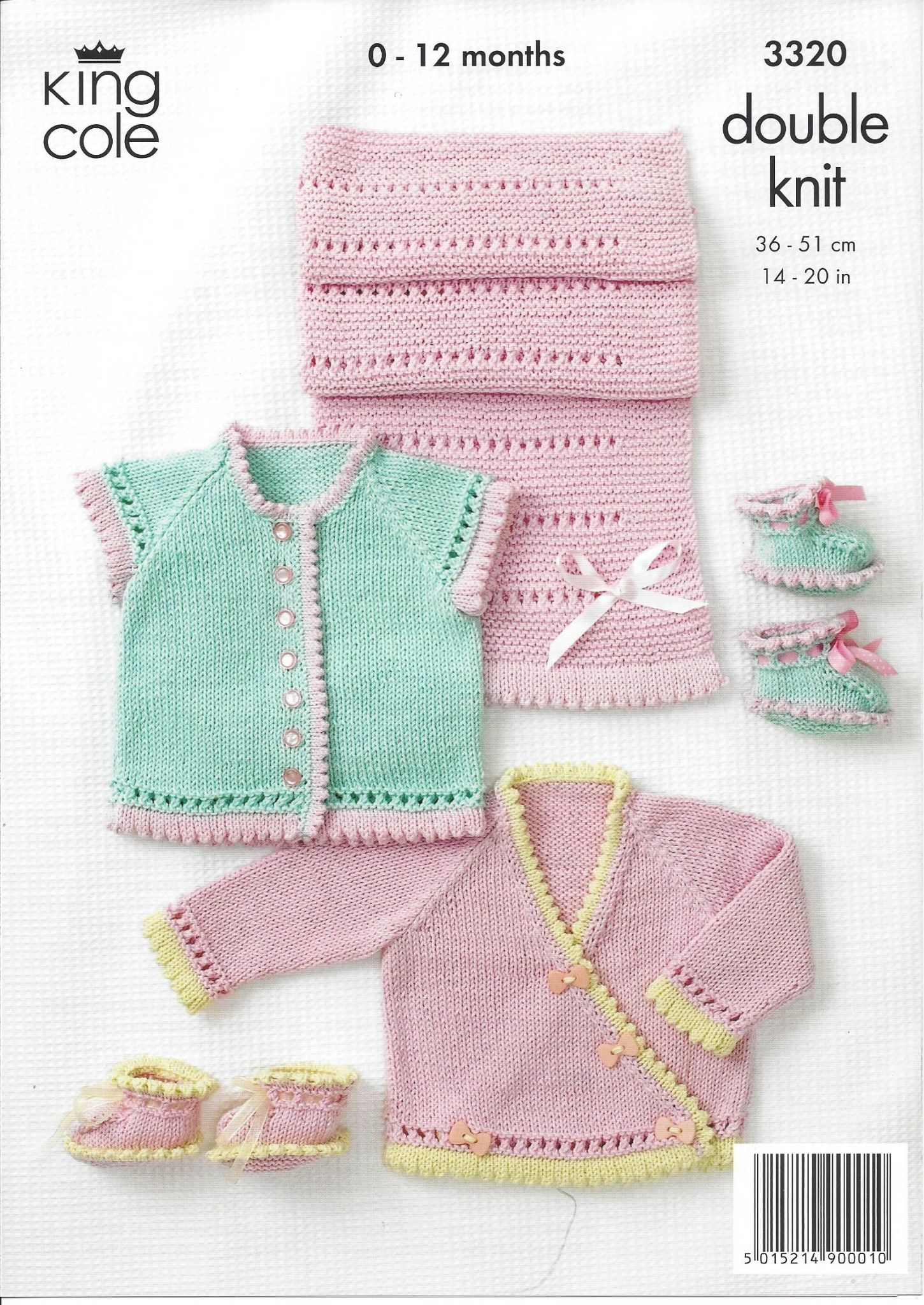 King Cole Baby DK Knitting Pattern - 3320 Round Neck Crossover Cardigan Shoes...