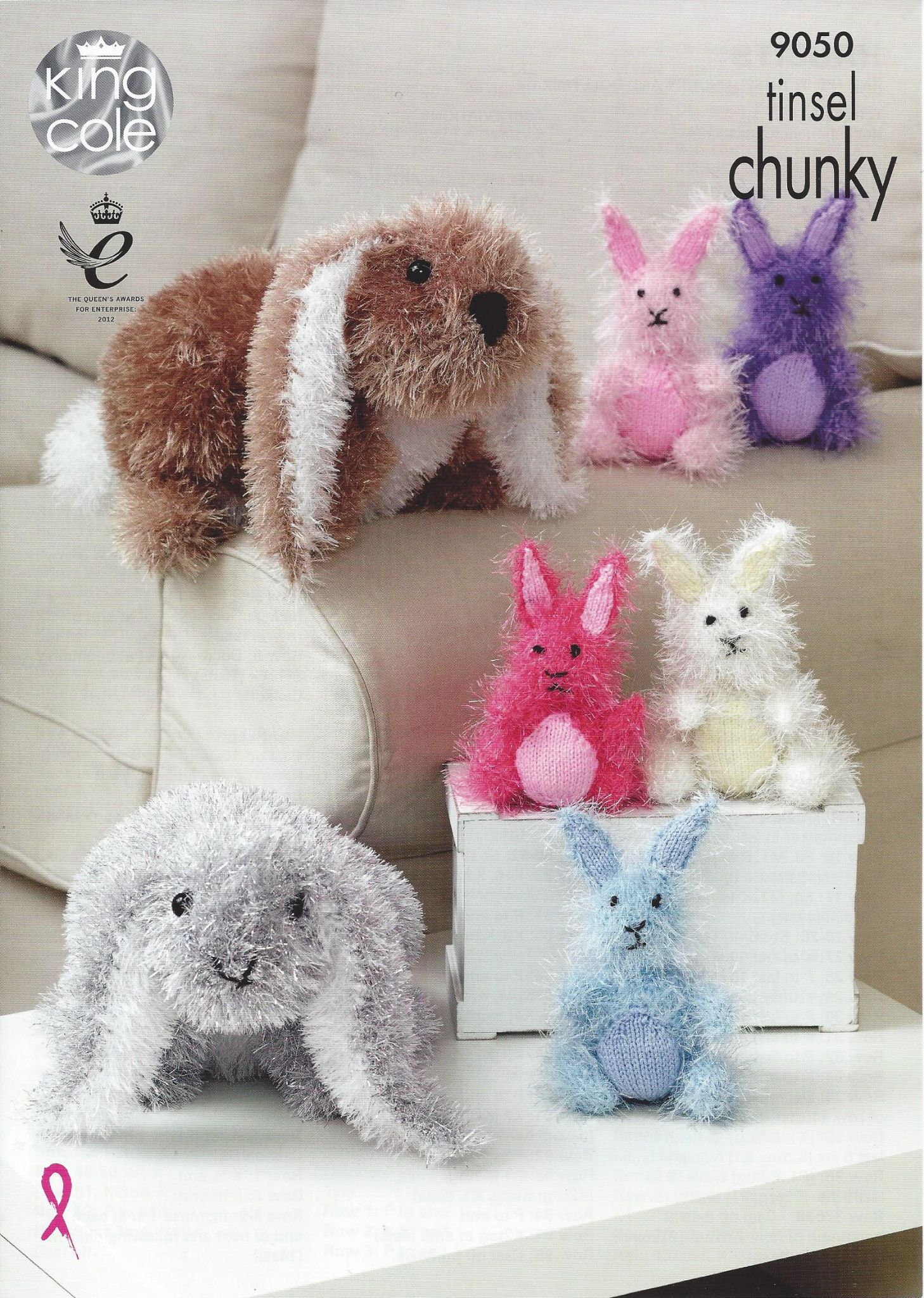 King Cole Tinsel Chunky - 9050 Rabbits Knitting Pattern