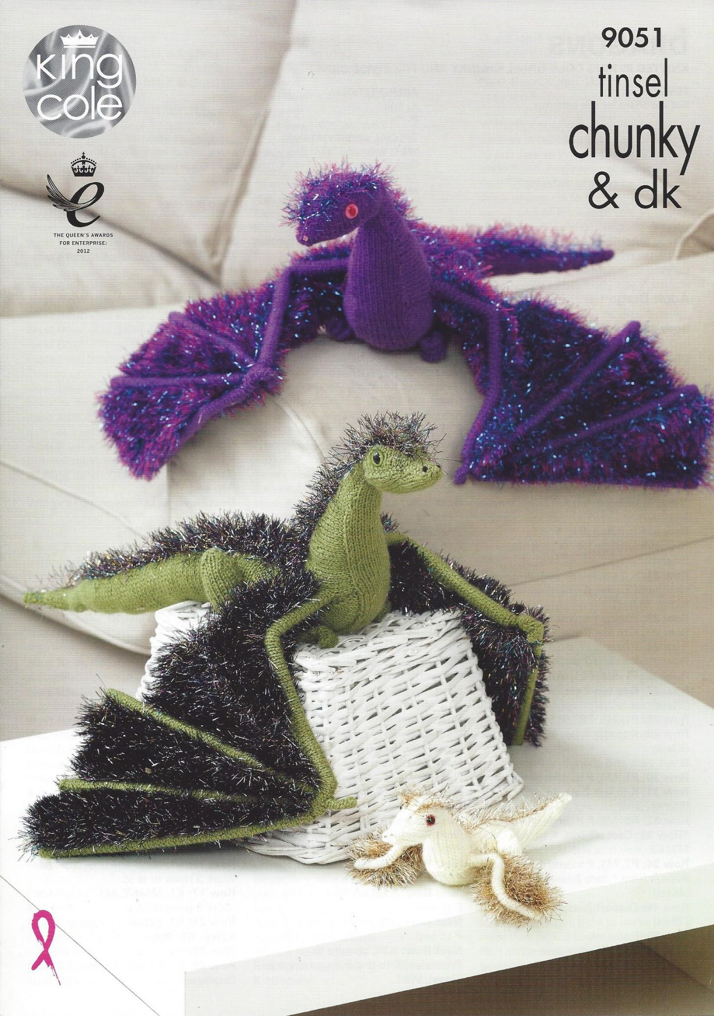 King Cole Tinsel Chunky - 9051 Dragons Knitting Pattern