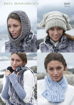 Sirdar Big Bamboo 9491 Scarf Snood Wrist Warmers Hat Knitting