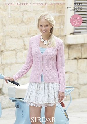 Sirdar Country Style 4ply 7727 Cardigan Knitting Pattern