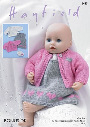 Sirdar Knitting Patterns For Dolls Clothes : Sirdar DK Knitting Pattern - 2485 Baby Dolls Pinafore ...
