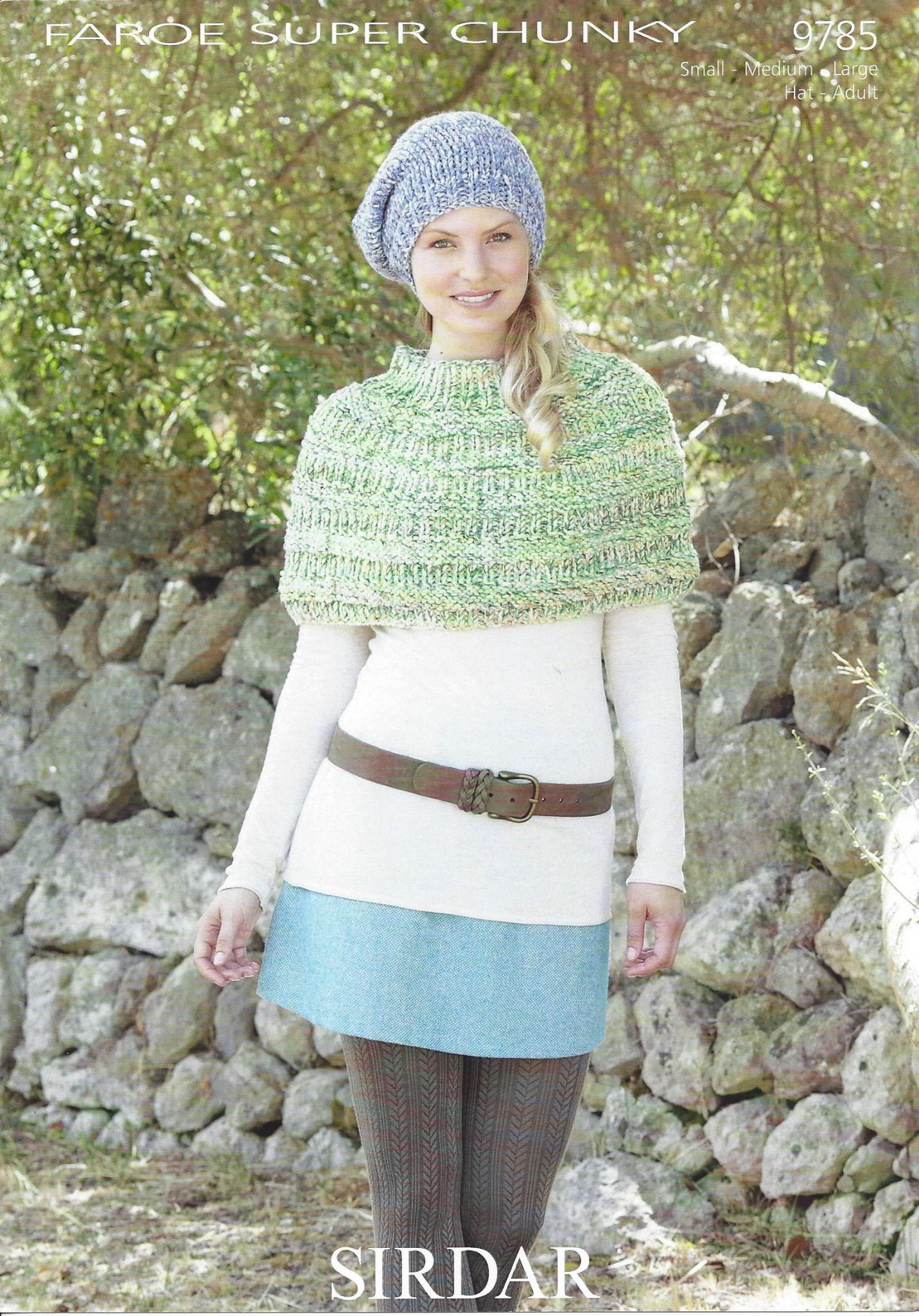 Baby Shawls Knitting Patterns Free : Sirdar Faroe Super Chunky - 9785 Poncho & Hat Knitting Pattern