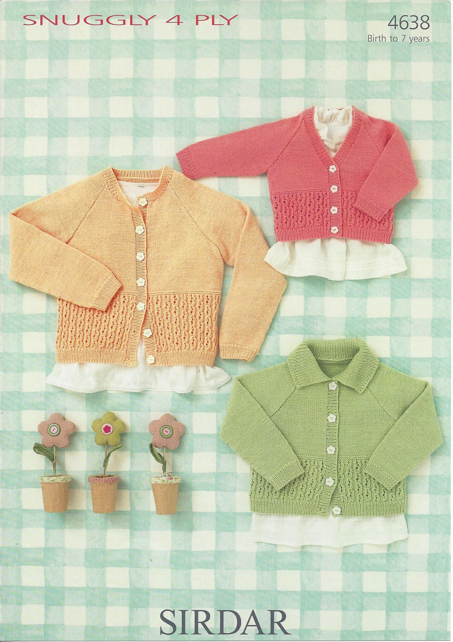 Machine Knitting Patterns For Babies : Sirdar Snuggly 4ply - 4638 Cardigans Knitting Pattern