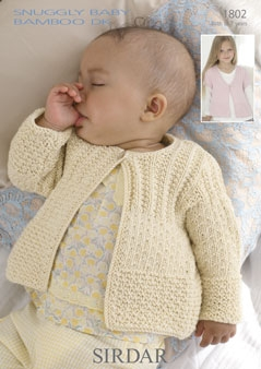 Sirdar Snuggly Baby Bamboo Dk 1802 Cardigans Knitting