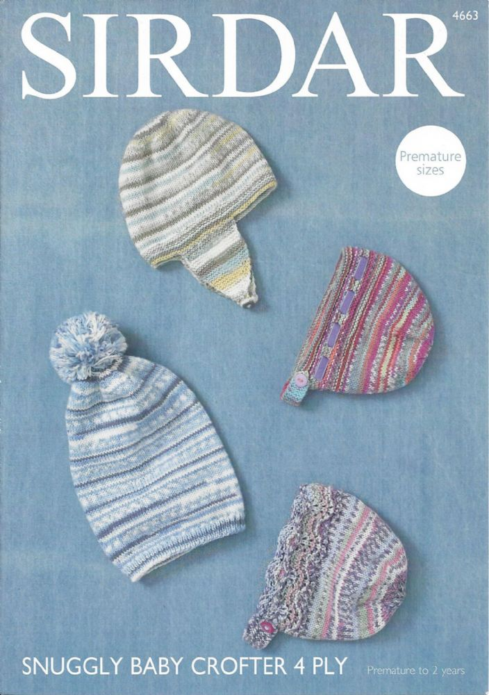 Sirdar 4 Ply Baby Knitting Patterns : Sirdar Snuggly Baby Crofter 4ply - 4663 Hat Helmet and Bonnets Knitting Pattern