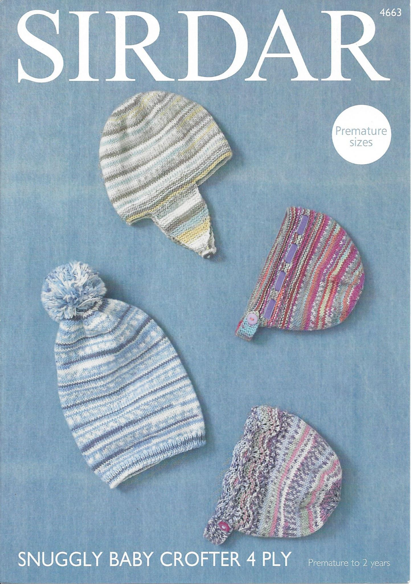 Sirdar Snuggly Baby Crofter 4ply 4663 Hat Helmet And