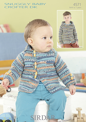 Sirdar Snuggly Baby Crofter DK - 4571 Hooded Jackets Knitting Pattern