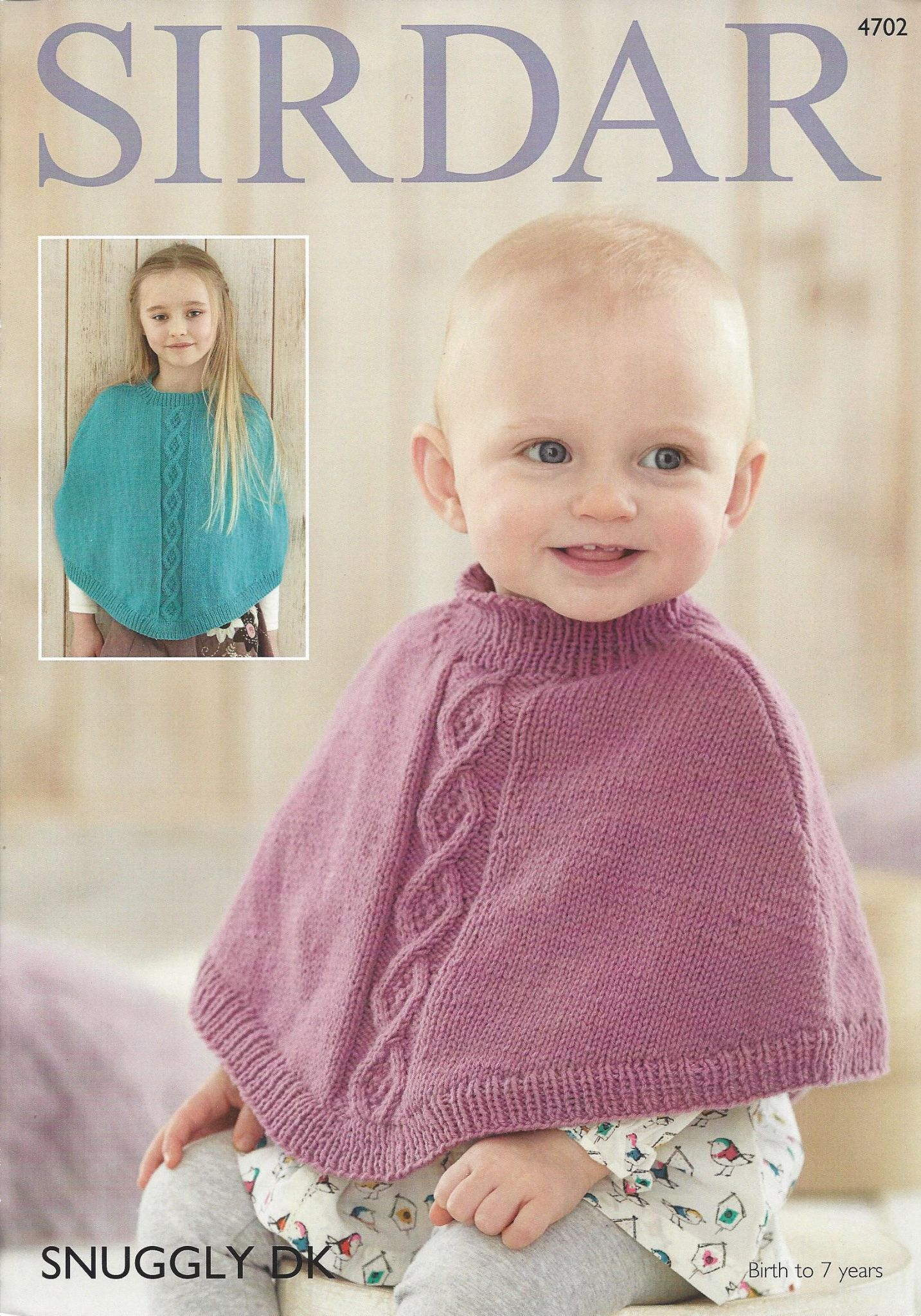 Machine Knitting Patterns For Babies : Sirdar Snuggly DK - 4702 Ponchos Knitting Pattern