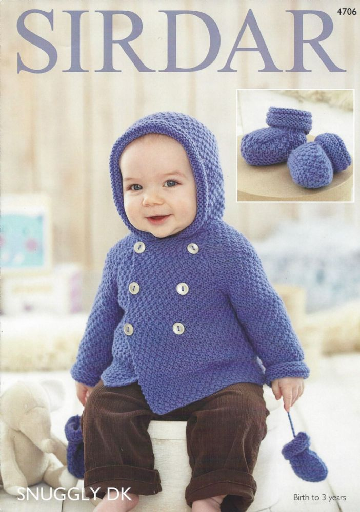 Quick Knit Throw Patterns : Sirdar Snuggly DK - 4706 Baby Boy s Coat Mittens & Botees Knitting Pattern
