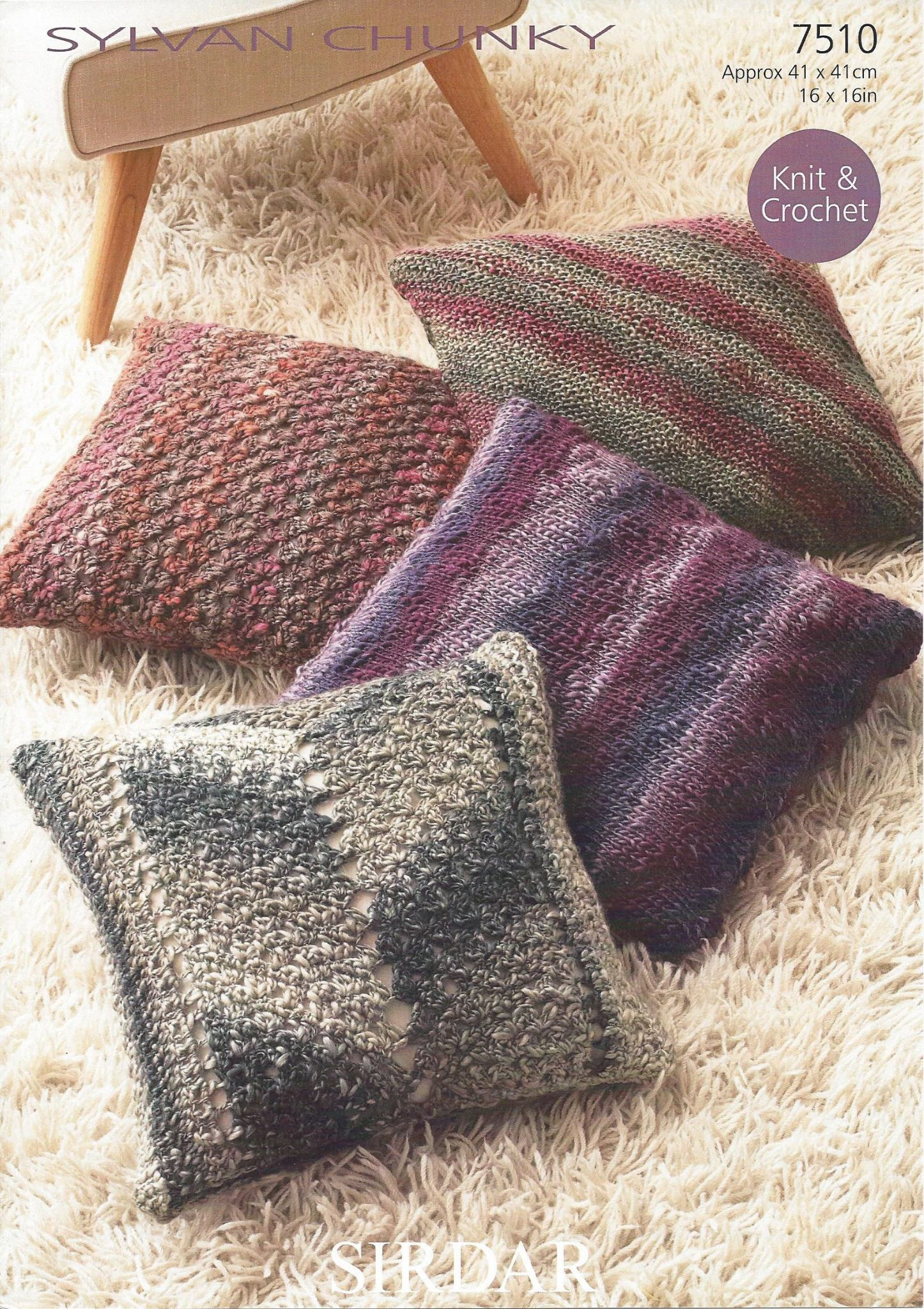 Machine Knitting Patterns For Babies : Sirdar Sylvan Chunky - 7510 Cushions Knitting & Crochet Pattern