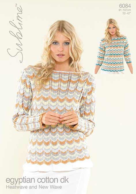 6084 Heatwave And New Wave Ladies Sweater Knitting Pattern