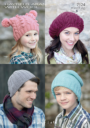 Hayfield Aran With Wool 7124 Hats And Beret Knitting Pattern