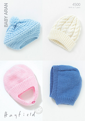 Hayfield Baby Aran - 4500 Hat Beret Helmet and Balaclava Knitting ...