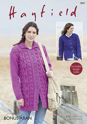 Hayfield Bonus Aran 7899 Long Jacket Cardigan Knitting Pattern