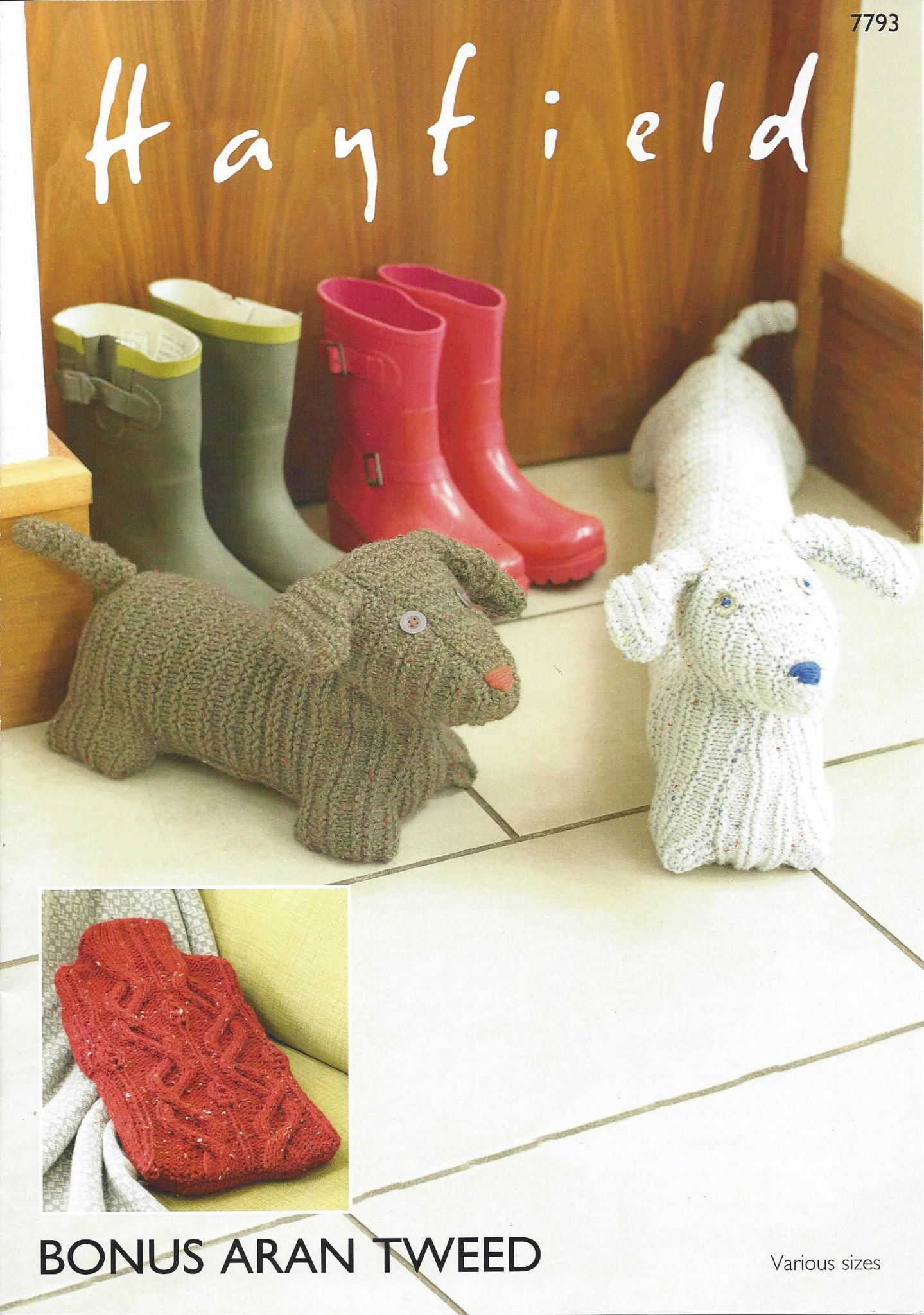 Hayfield Bonus Aran Tweed 7793 Hot Water Bottle Cover Doggy Door