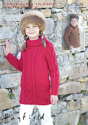 Hayfield Chunky with Wool - 2429 Jumper Knitting Pattern