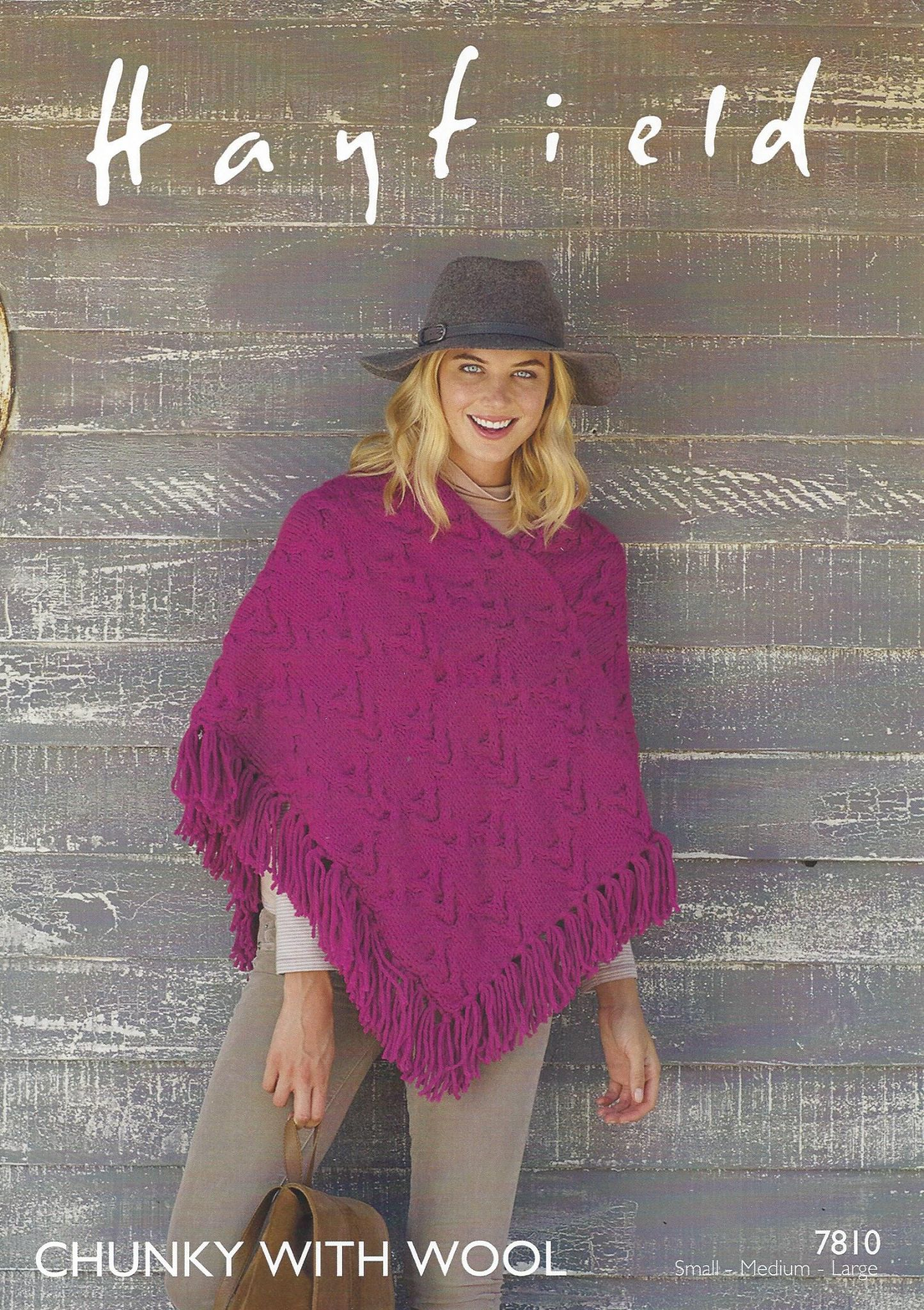 Hayfield Chunky with Wool - 7810 Poncho Knitting Pattern