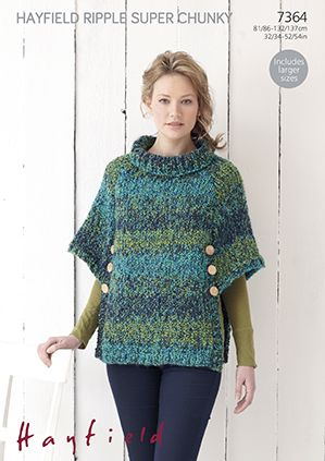 Hayfield Ripple Super Chunky 7364 Poncho Knitting Pattern