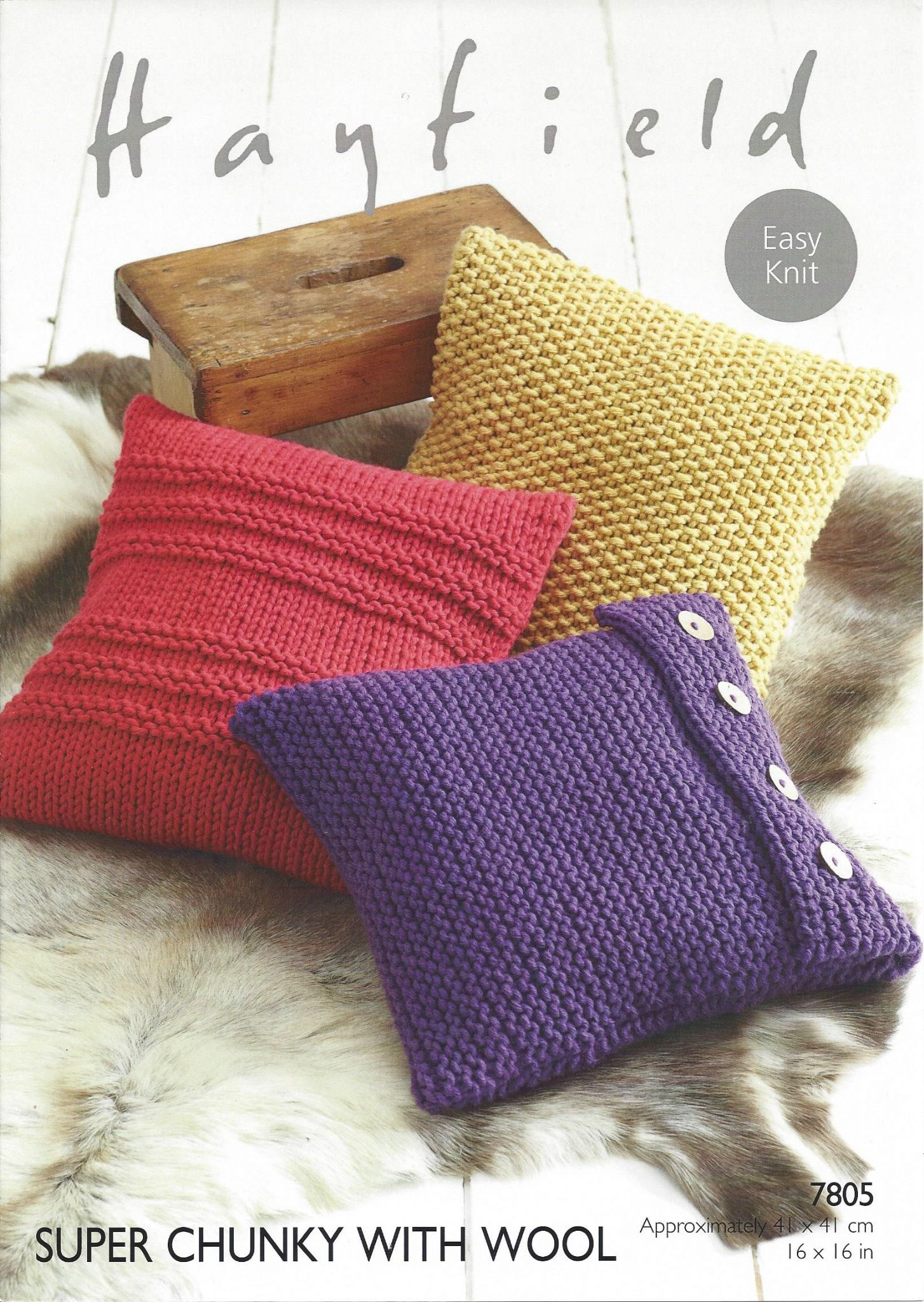 Hayfield Super Chunky with Wool - 7805 Cushions Knitting Pattern