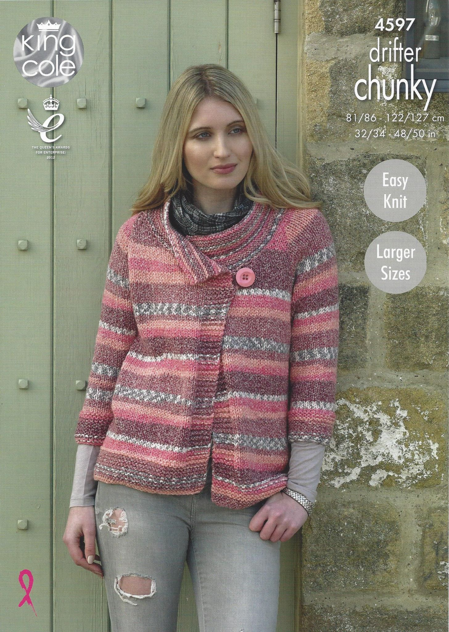 King Cole Drifter Chunky 4597 Ladies Jacket Knitting Pattern