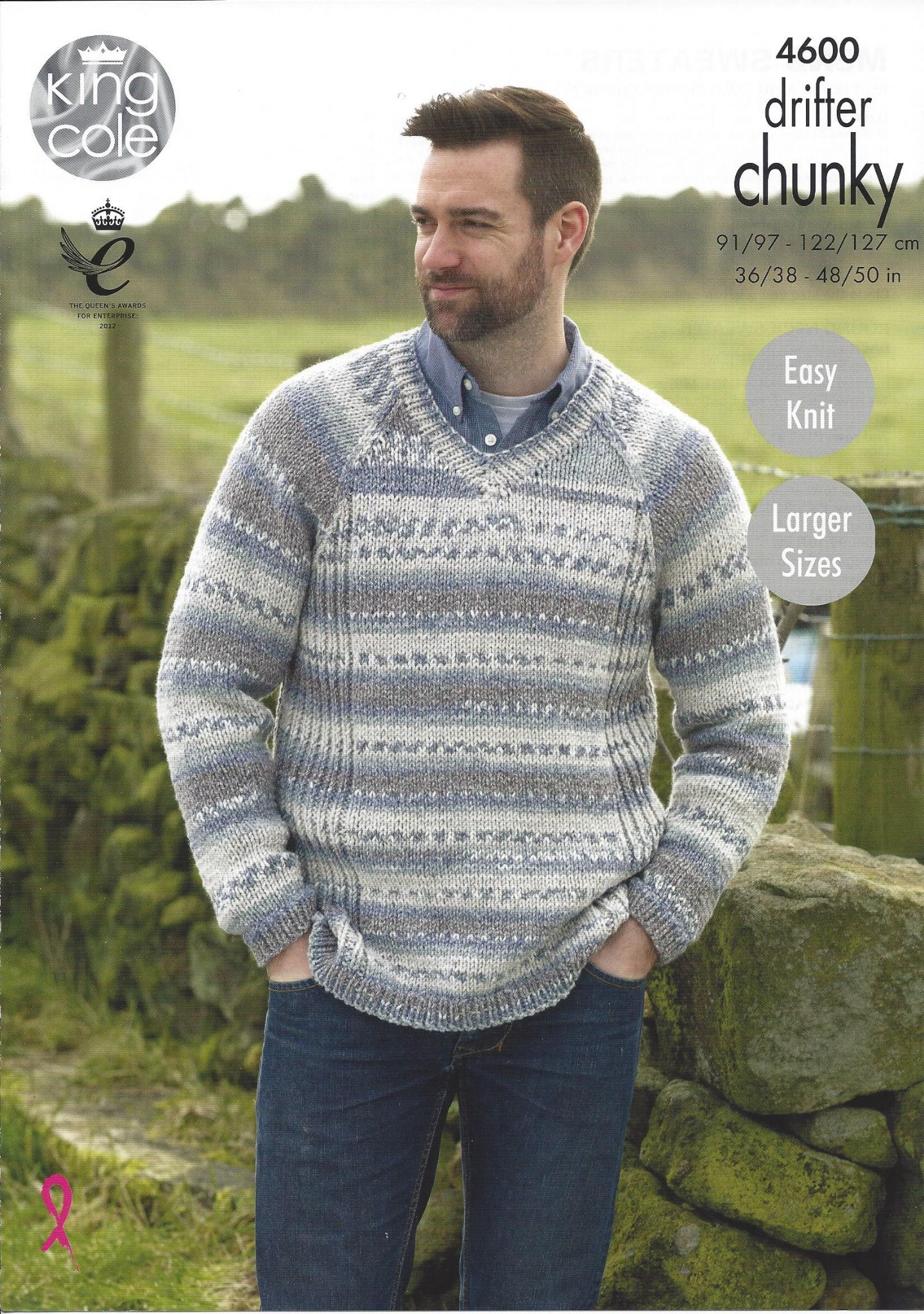 King Cole Drifter Chunky - 4600 Mens Sweaters Knitting Pattern