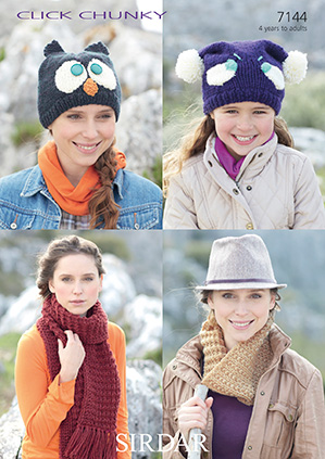 Sirdar Click Chunky - 7144 Owl Hat, Tea Bag Hat, Snood & Scarf Knitting  Pattern