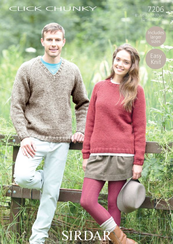 Sirdar Click Chunky 7206 Sweaters Knitting Pattern