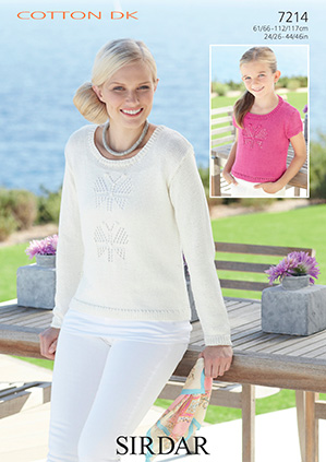 Sirdar Cotton Dk Knitting Pattern 7214 Woman S And Girl S Sweaters
